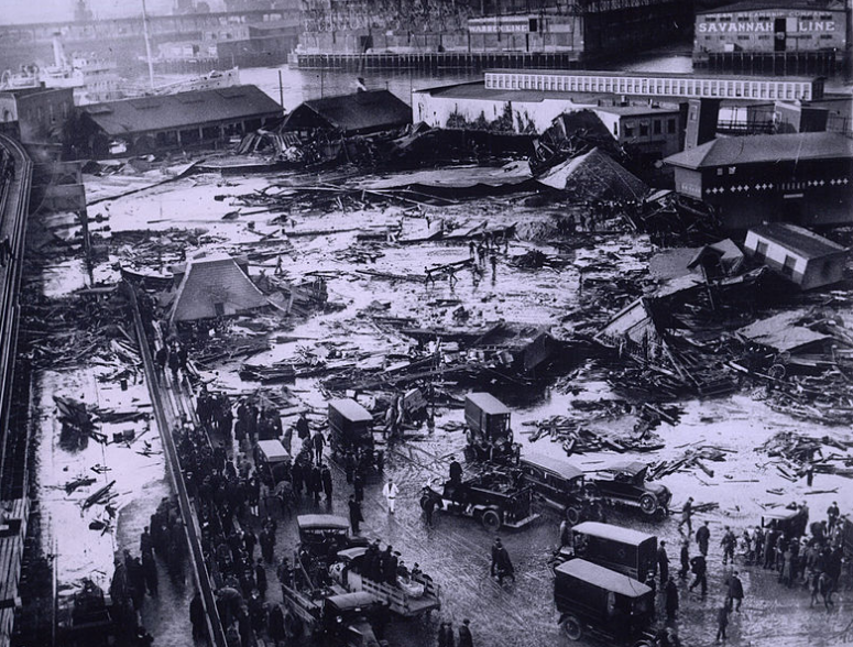 "The aftermath of the 1915 ""flood."" ( Boston Public Library )"