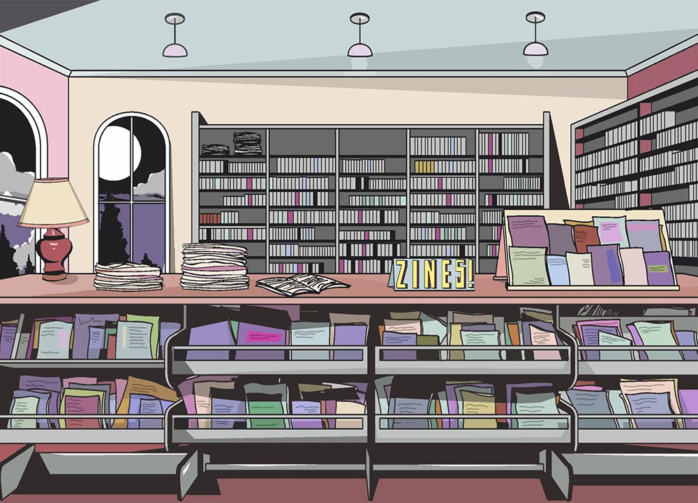 The next time you visit your local library, check to see if they have a zines section. (Art:     Zita Walker  )
