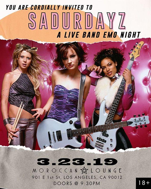 Come sing sad songs w/ us! Tickets only $5 for the next @sadurdaynightz! ~ ~ #emonight #emo #myspace #liveshow #liveband #concert #emonite #moroccanlounge #warpedtour #rockshow #screamo #sad #sadasfuck #poppunk #bandguys #longbeach #scenehair #sadurdayz #sadurdaynightz #emostyle #emoscene #losangeles #myspacedays #dtla #dtlaartsdistrict #happeningindtla #dtlanightlife #dtlaevents #laevents
