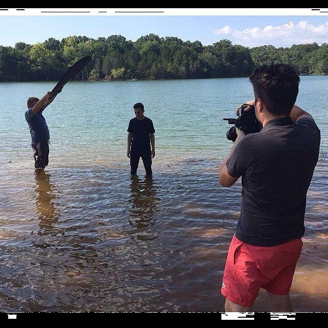 Just another day on set, waterlogged with David Archuleta. #americanidol #dontdropthecamera #lakes #tn #photoshoot