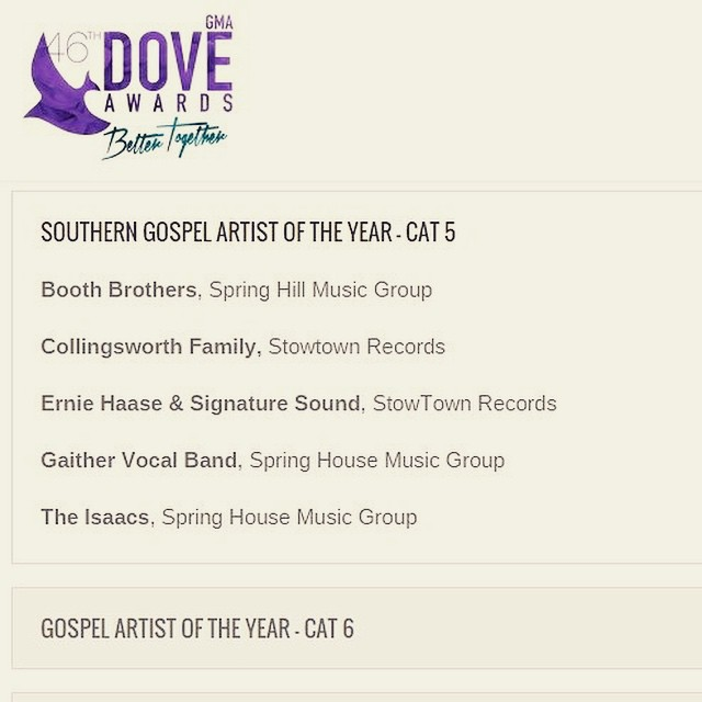 We've been blessed to work with 3 of the nominees for Southern Gospel Artist of the Year - congrats guys! #doveawards2015