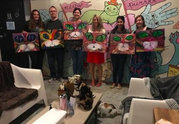 "Painting with cats going on tomorrow at 7 p.m.! Tickets only $20! BYOB with ID. All art materials and professional instruction included.  Go to BlueCatCafe.com & click ""Book"" right meow! http://ow.ly/IcMn30l7zFJ"