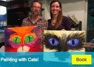 Looking for last minute pawlans tonight!? Painting with cats is on at 7, and YES! there is still room for mew and two or 3 furrends!  Walkins welcome, but we do have a limit of seats and materials.  May book online for next hour or give us a call to reserve at 512.766-5003. $20 and BYOB with ID!  All materials provided along with professional instruction from a fabulous cat lady!  Come on meow!