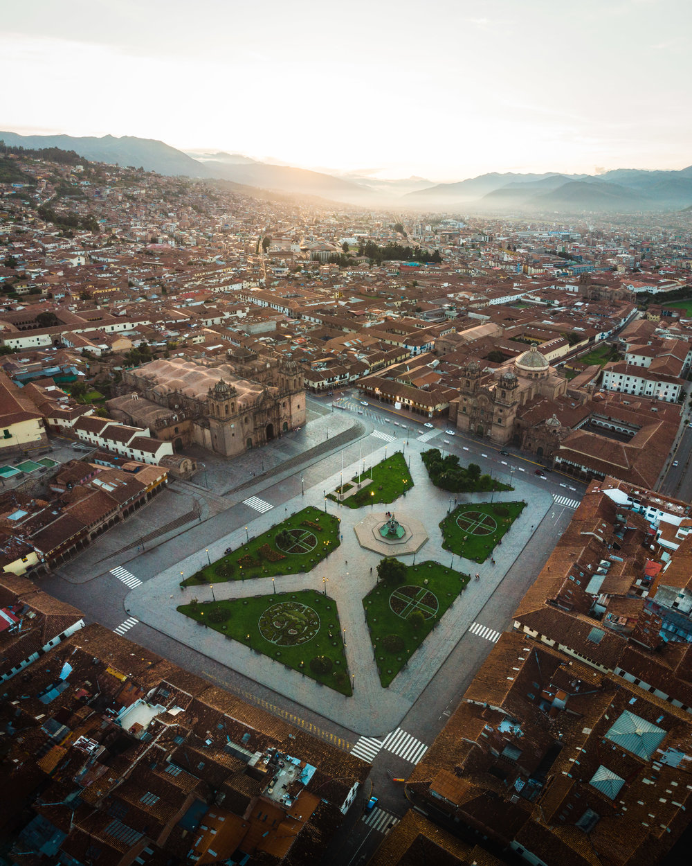 The city of Cusco, photographed with a drone.