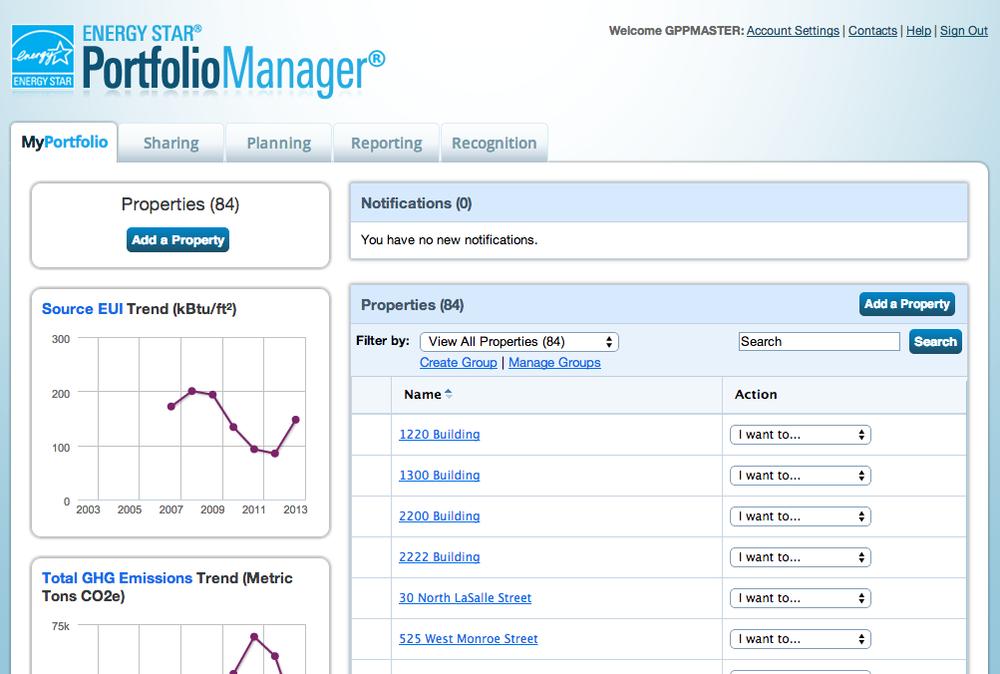 Screenshot from  Energy Star Portfolio Manager