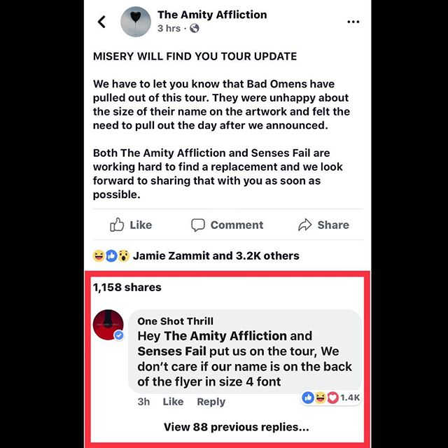 We made a funny on Facebook and now it's blowing up! It would be awesome to tour with @sensesfailofficial @theamityaffliction and @belmontmusic 🤘🏼🤘🏼🤘🏼 #oneshotthrill #theamityaffliction #sensesfail #belmont