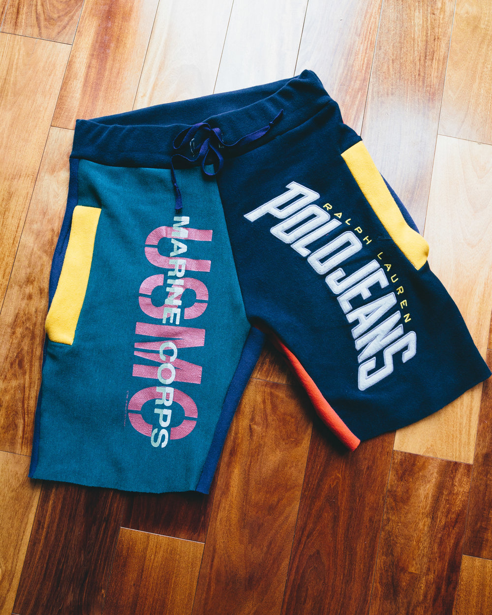 Polo Patchwork Shorts - Made from Various Vintage sweatshirts