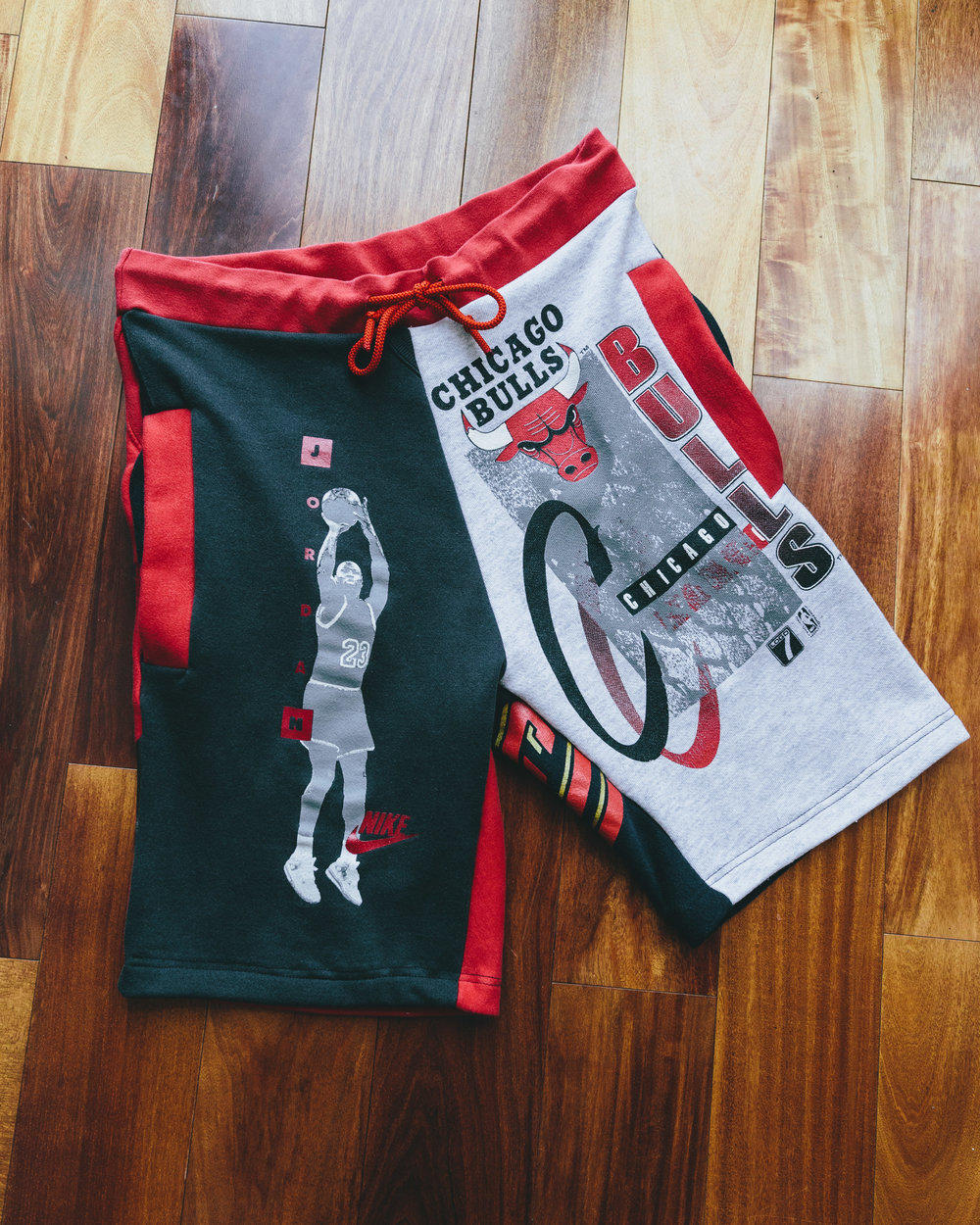 Bulls Shorts - Commissioned piece bulls themed from various vintage crewnecks/hoodies.