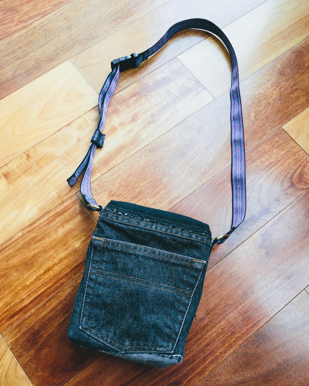 Side Bag - Denim bag constructed from vintage jeans.