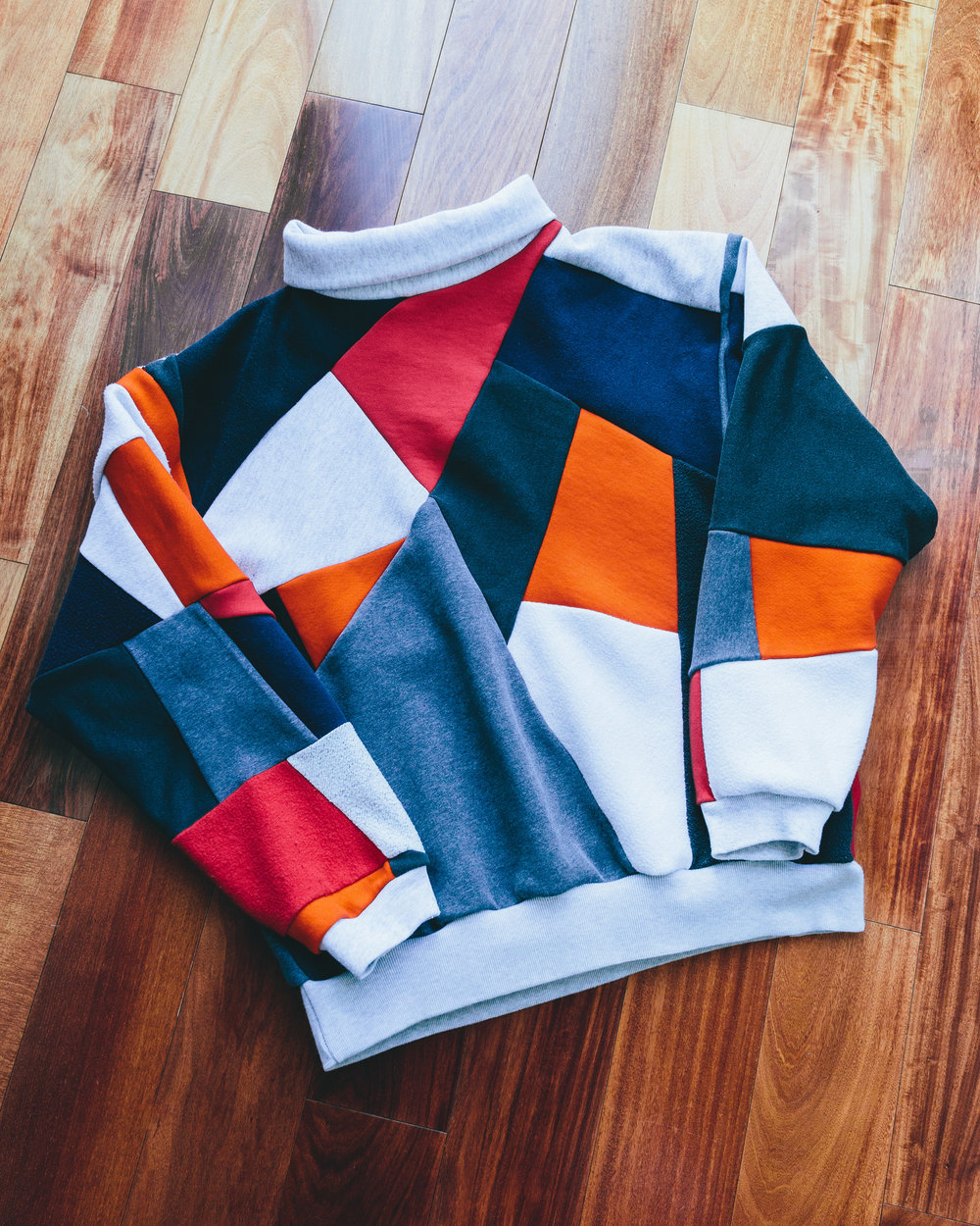 Mosaic Turtleneck - Made from various vintage sweatshirts patchworked together.
