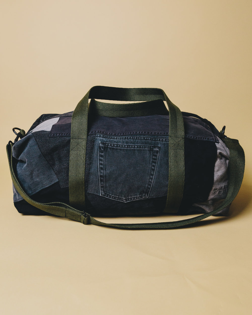 Large Levi's Bag - A large duffel bag I made from various vintage denim & surplus military straps.