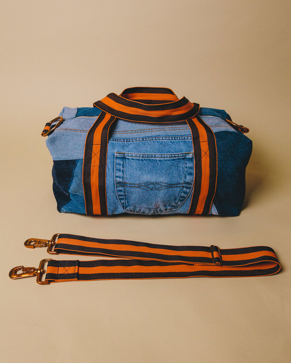 Denim Orange Duffel - Made from denim and patchworked together, this was actually inspired by one of my first pieces I ever made & sold, I just remade it in a similar style.