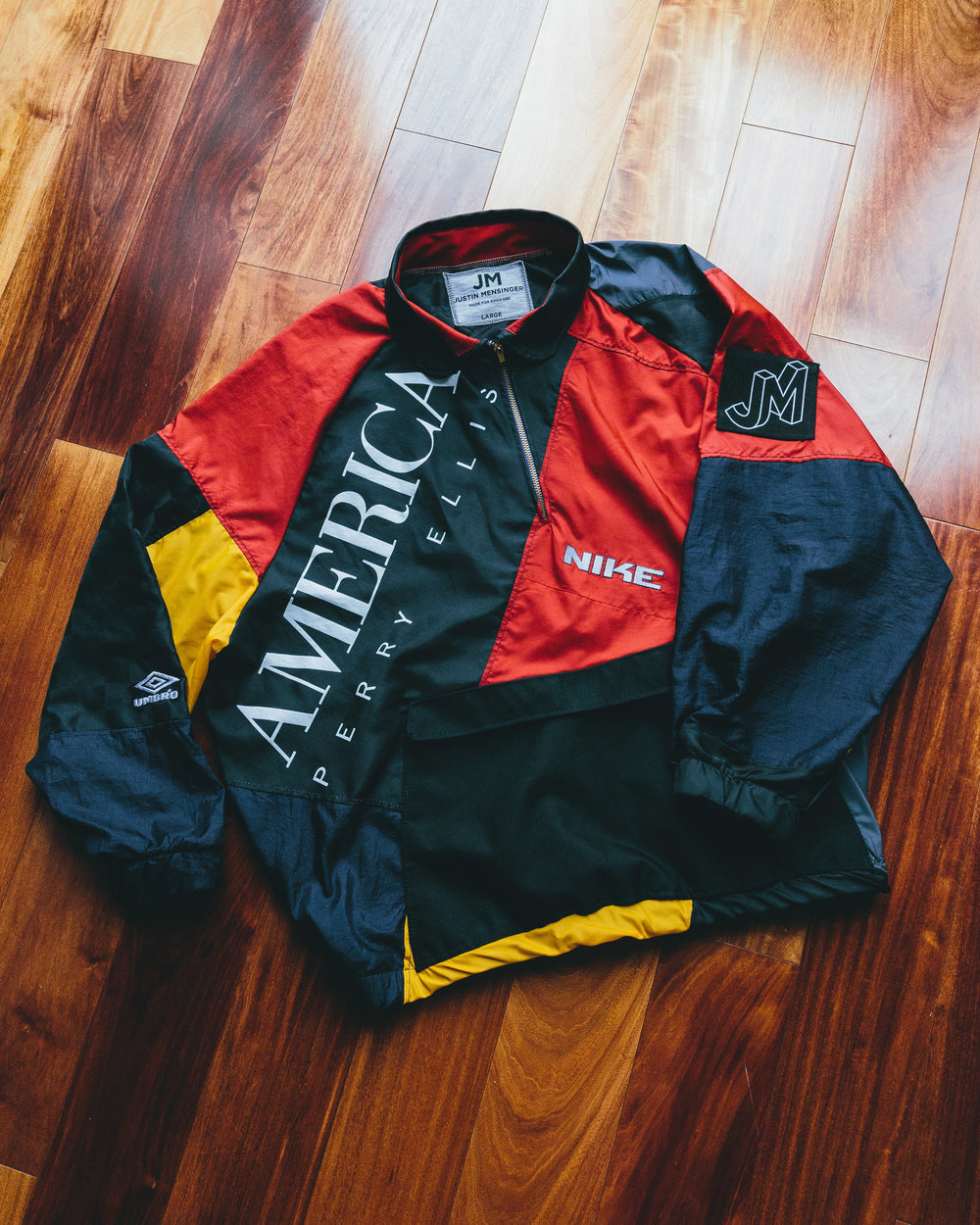 Americana Windbreaker - Pullover 1/4 zip windbreaker made from vintage soccer shorts, track pants, and even another vintage jacket I had found that needed a new life as it had a whole in it.