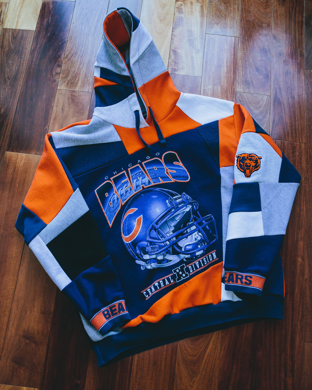 Bears Gameday Sweatshirt - Made from a 90's helmet print graphic and artfully pieced together with spellout cuffs and an embroidered arm logo.