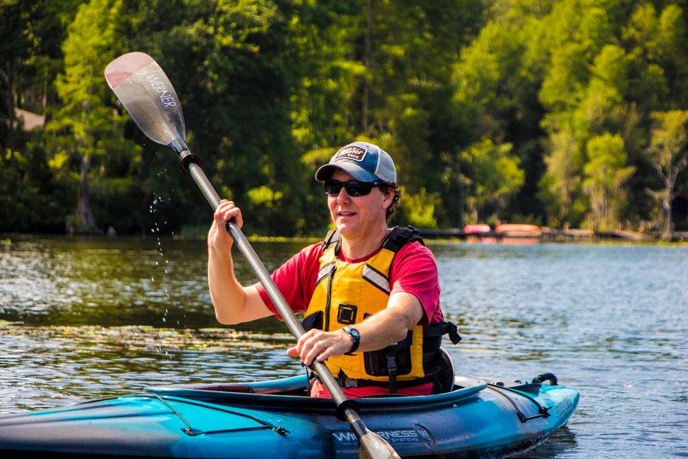 Scott Murphy kayaking on Lake Prestwood