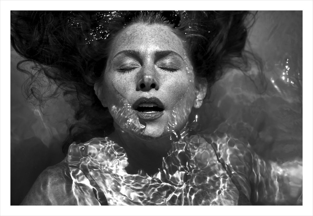 woman in water b and w #1