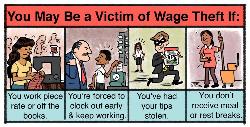 Wage theft comes in many forms. Be sure to document your time & pay if you suspect you're missing money that you've worked to earn. ( cc: UCLA)