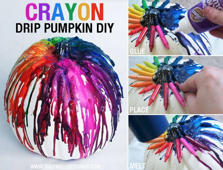 Supper easy way to decorate your pumpkins. I used this tutorial for one of mine and then I added some glitter on top to make them a little more glam! 💁🏼  I'm not sure if you can tell, but you melt them with hair dyer! Make sure you put some newspaper under them, this will get a little messy!