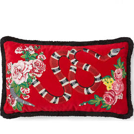 $1,250 Gucci Embroidered Pillow: I didn't know until today that Gucci started making pillows! Obviously I want them all, especially this one and the one with the bee on it! � (Bee pillow not pictured but you will have to look for it on the Gucci site! )