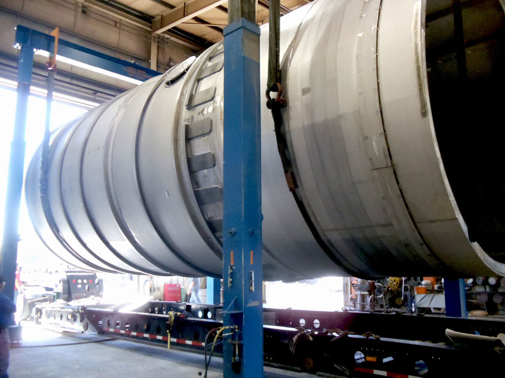 15' diameter x 69' long stainless steel rotary dryer