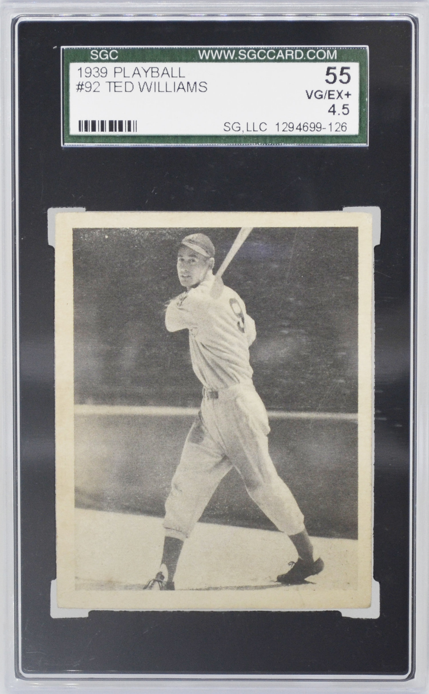 Traded 1939 Play Ball Ted Williams Rookie Rc Sgc 55 Vgex