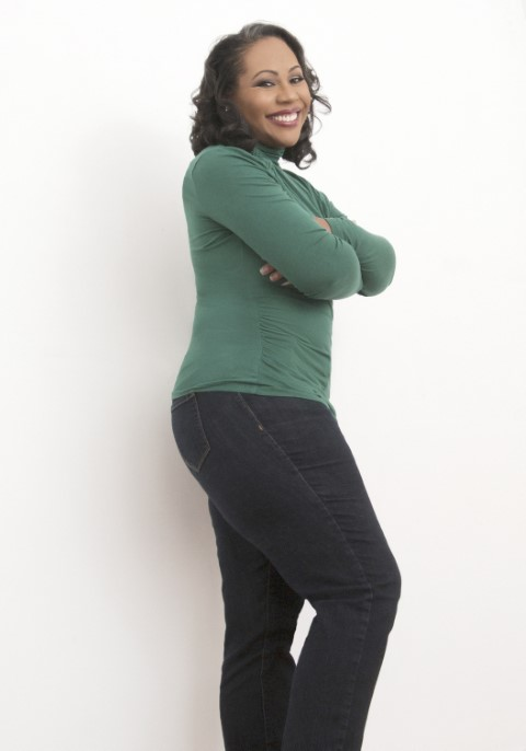 Daree Allen, black female voice actor, standing