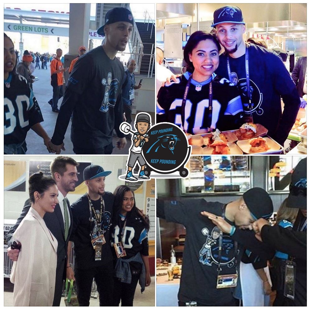 """STEPHEN CURRY SPORTS HIS TYKES GEAR AT THE SUPERBOWL   Debuting on Instagram and Twitter, the Stephen Curry """"Keep Pounding"""" design was turned into a one-of-a-kind shirt by Under Armour."""