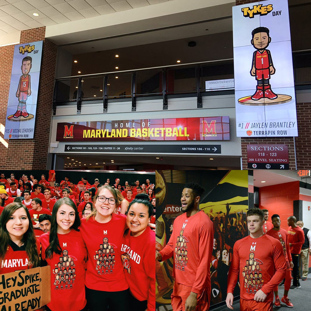 """UNIVERSITY OF MARYLAND BASKETBALL   A social media partnership with Tykes engaged students to show their team spirit like never before, culminating with an official """"Tykes Day"""" event during a nationally televised game."""