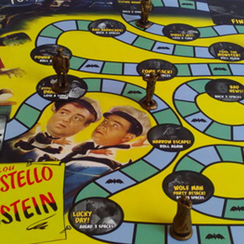 """BOARD GAME DESIGN   """"Abbott & Costello Meet Frankenstein – The Board Game"""" is a limited edition fan project produced by Distinctive Dummies. This game pays homage to the classic monster movie-themed board games of the 1960s and 70s,. I was the writer and designer of this product."""