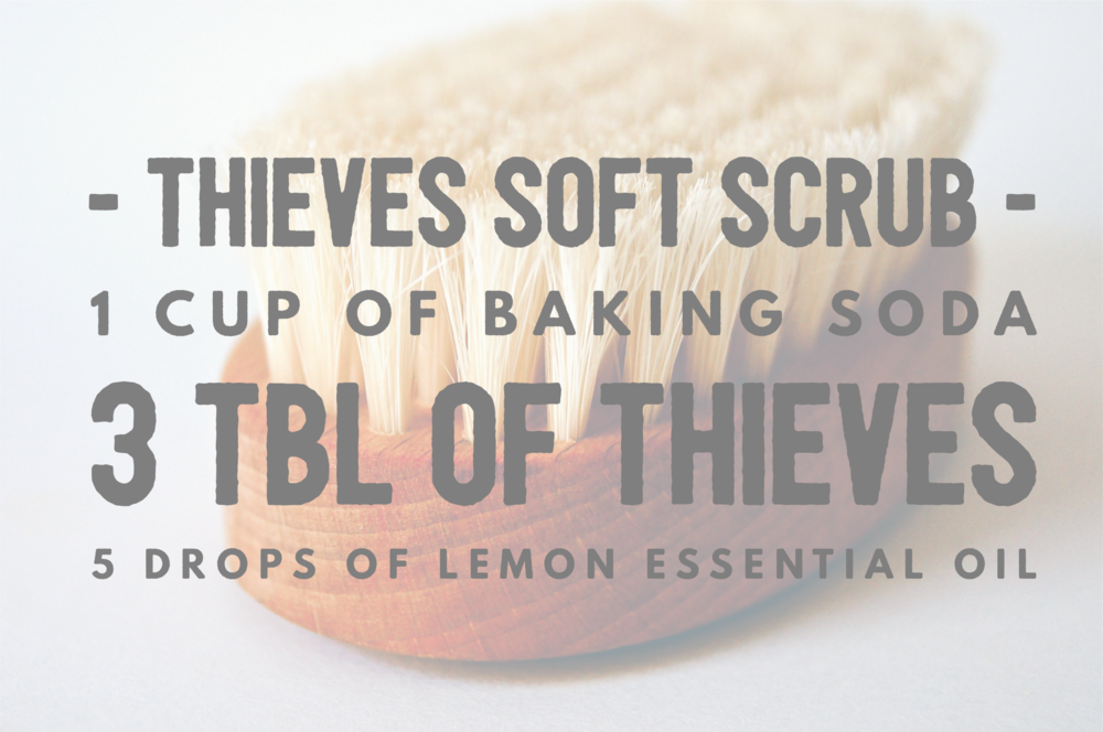 I cup of  baking soda , 3 tbl of  thieves , 5 drops of  lemon  essential oil