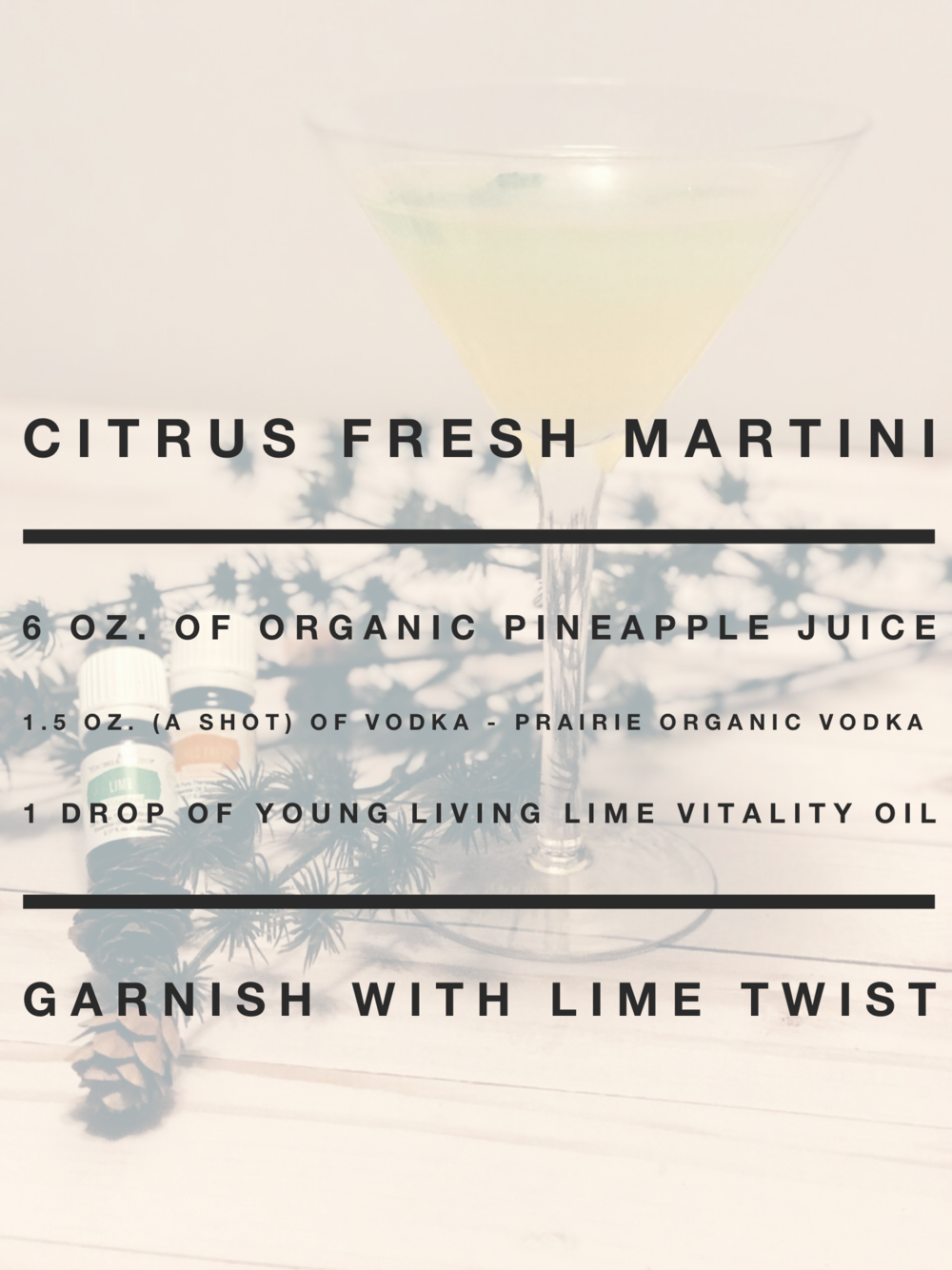 Citrus Fresh Martini - Combine ingredients in a cocktail shaker, shake, then pour into two martini glasses. Garnish with a fresh lime twist and enjoy with company.