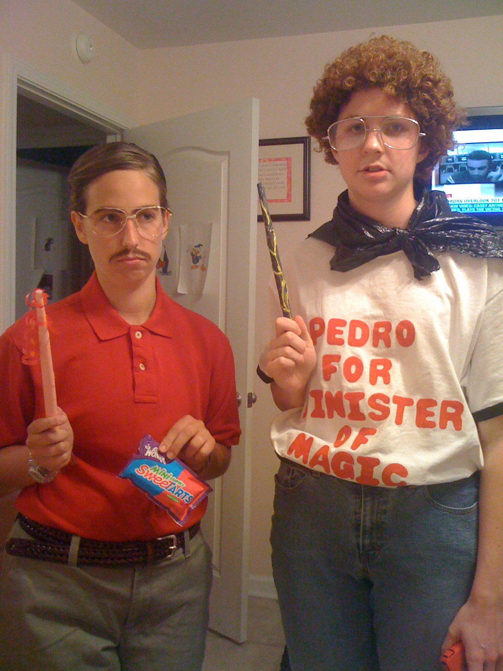 Kip and Napoleon were such a hit in high school that we decided to bring them back for a Harry Potter movie premiere while we were in college. I was, yet again, mistaken for a man during this experience; I owe that to my hair and makeup. And taping down of my chest with medical tape. Add trash bags and paper wands, and voila! A costume within a costume.