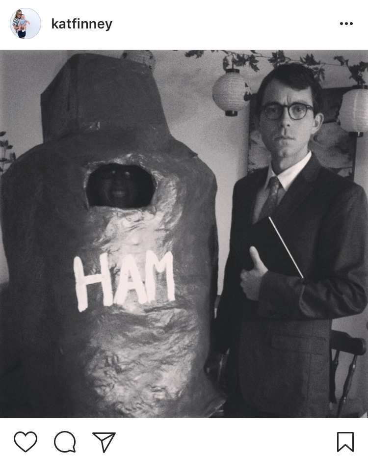 Jonathan's not a huge fan of dressing up (unless he's going to be projected on the big screen at an LSU football game), so when I told him all he'd need for this costume were a book and a suit, he was happy. I, on the other hand, was perfectly content in my very uncomfortable but totally worth it homemade ham.