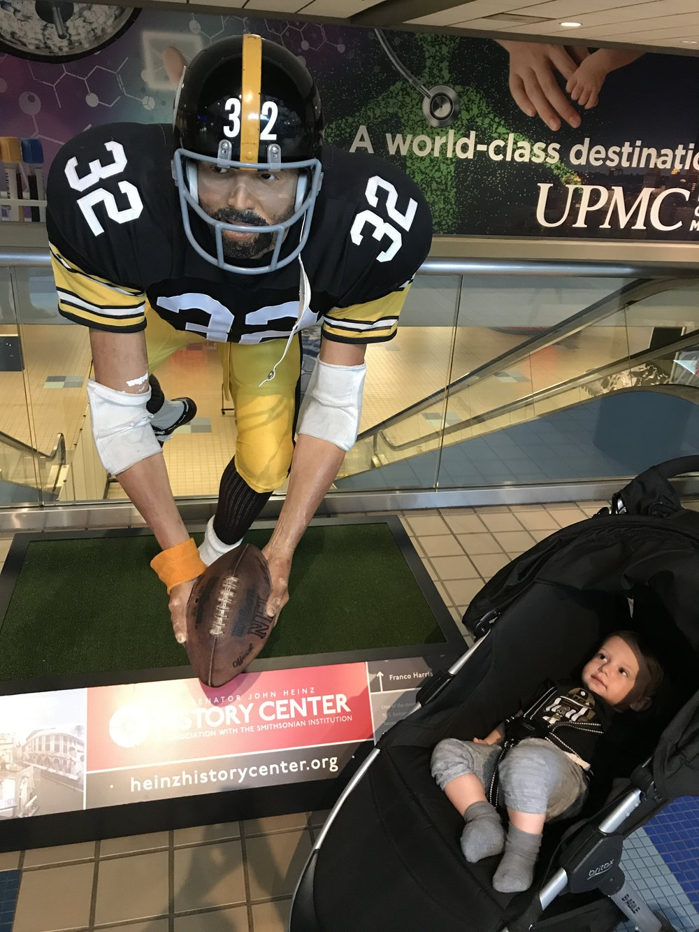 Patrick got to see the statue of Franco Harris in the Pittsburgh airport after he sat across from Franco Harris on the airplane.  No big deal, but the real version was a little better, and Patrick is unimpressed with the fake.