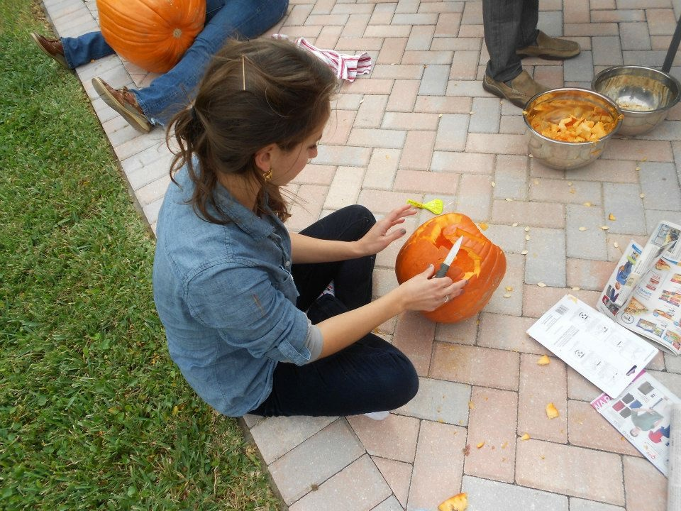 This is me carving a pumpkin, single and lonely, at a friend's house right before Halloween 2012.