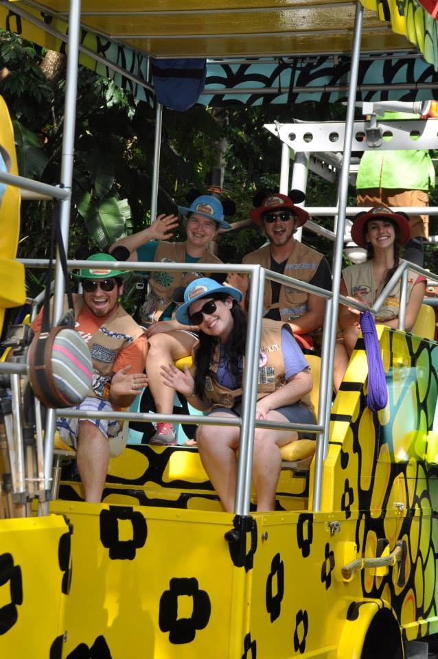 Parade, huge hats, Mickey ears, Dalton on my right