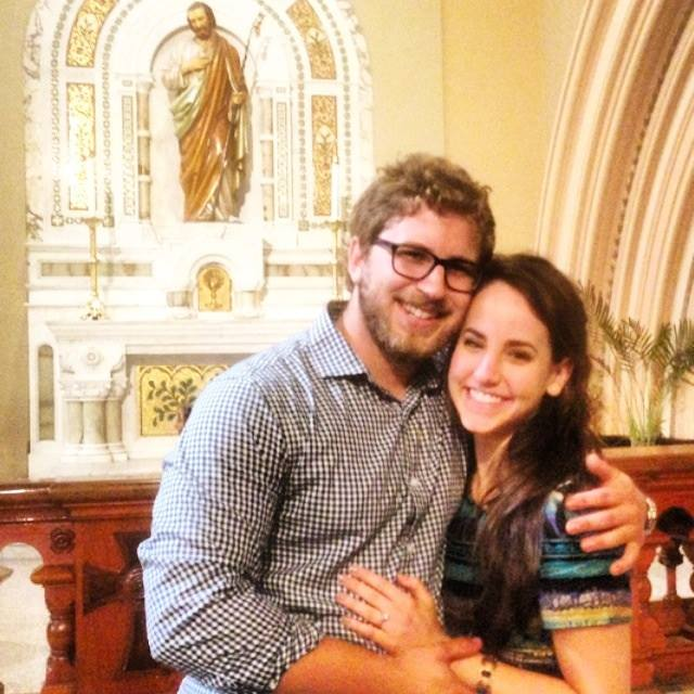 This is right after we got engaged, in front of the statue of St. Joseph in St. Joseph's church.