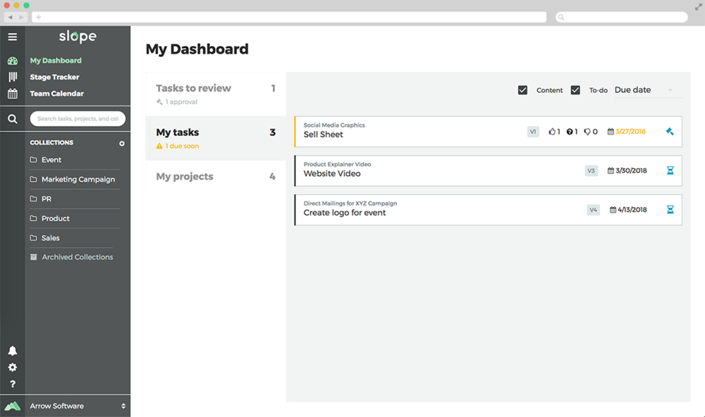 Current solution showing a breakdown of your tasks by status, prioritized by date, filterable by type and name