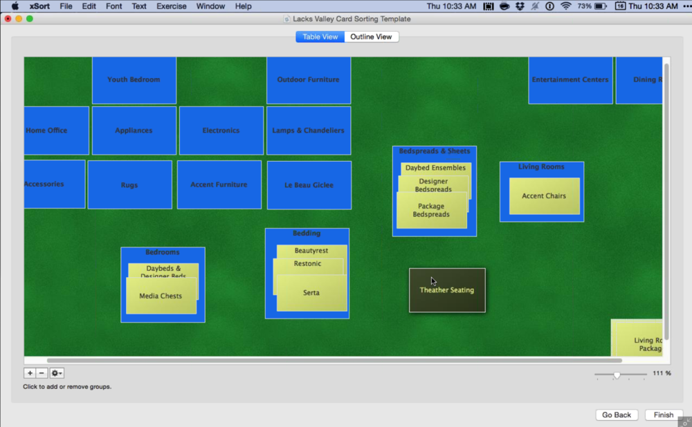 Virtual card sorting exercises to categorize the many departments and categories
