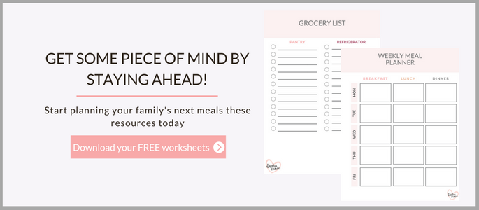 Meal Planner and Grocery List free printables for single moms