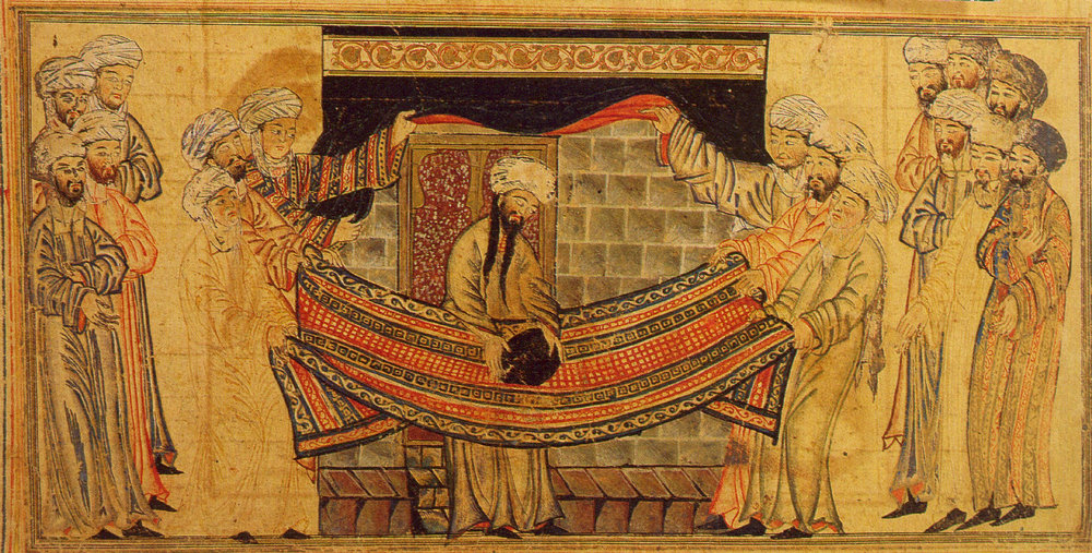 The Prophet Muhammad solves dispute over lifting the black stone into position at al-Kaaba.  Miniature from Jami' al-Tavarikh (The Universal History or Compendium of Chronicles), by Rashid Al-Din, 1307 A.D
