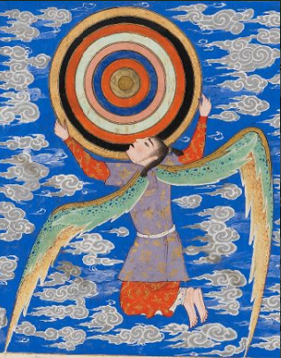 The angel Ruh (responsible for the order of stars and galaxies) holding the 9 heavens from  The Wonders of Creation and the Oddities of Existence (Arabic: 'Aja'ib al-makhluqat wa-ghara'ib al-mawjudat), a treatise on the marvels of the universe written by cosmographer and geographer Zakariya ibn Muhammad al-Qazwini (1203–1283).