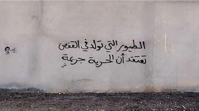 """الرياض - Riyadh """"Birds born in cages, think freedom is a crime"""" #saudistreetart"""