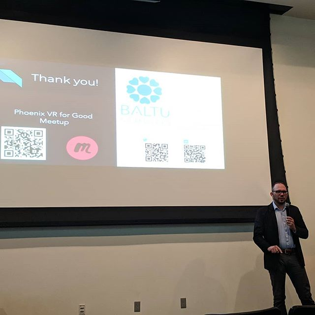 "Our CEO presenting at #entrepreneurweek in #MesaAZ ""one of our biggest passions is to create applications that will be used for good""  #vrforgood #VR #Technology #TechforGood #tuesday #madeinmesa #Baltu"
