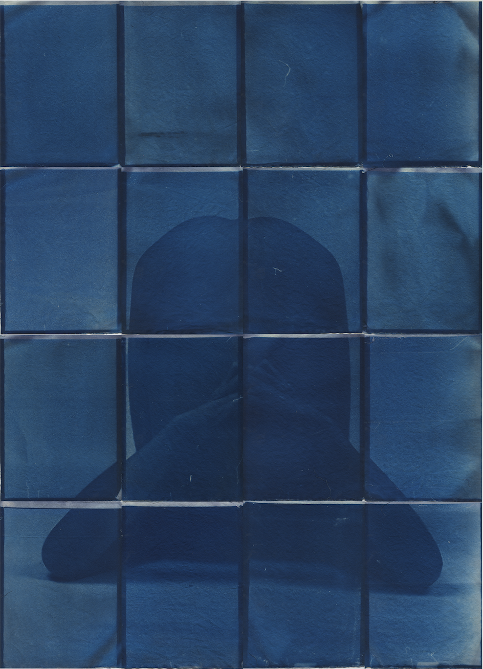 Stretch, 2017.    Collection of 16 A4 cyanotype prints forming an A0 (841 x 1189 mm) installation.