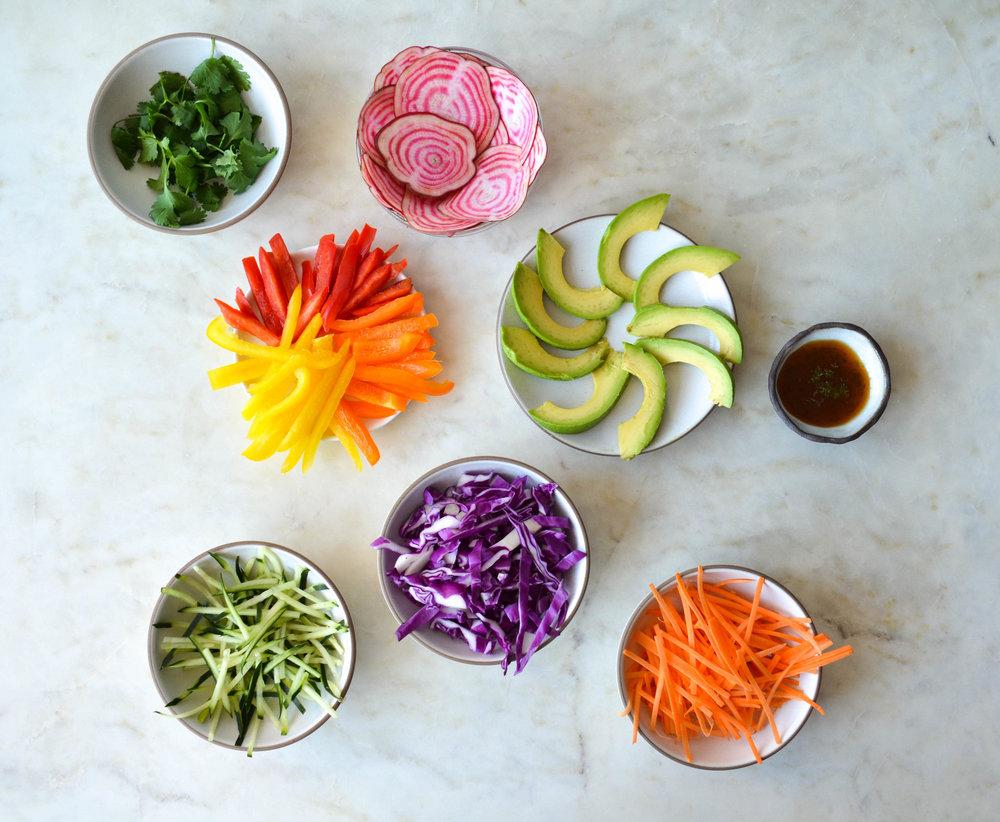 #ShiraRD #soyfree rainbow spring rolls #glutenfree