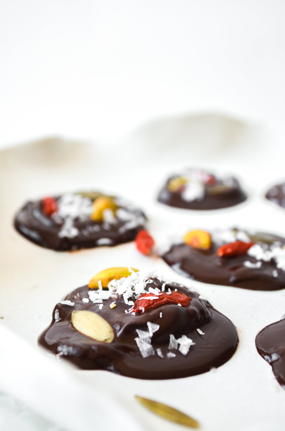 superfood trail mix chocolate bites // #ShiraRD #paleo #refinedsugarfree #SnacksByShira