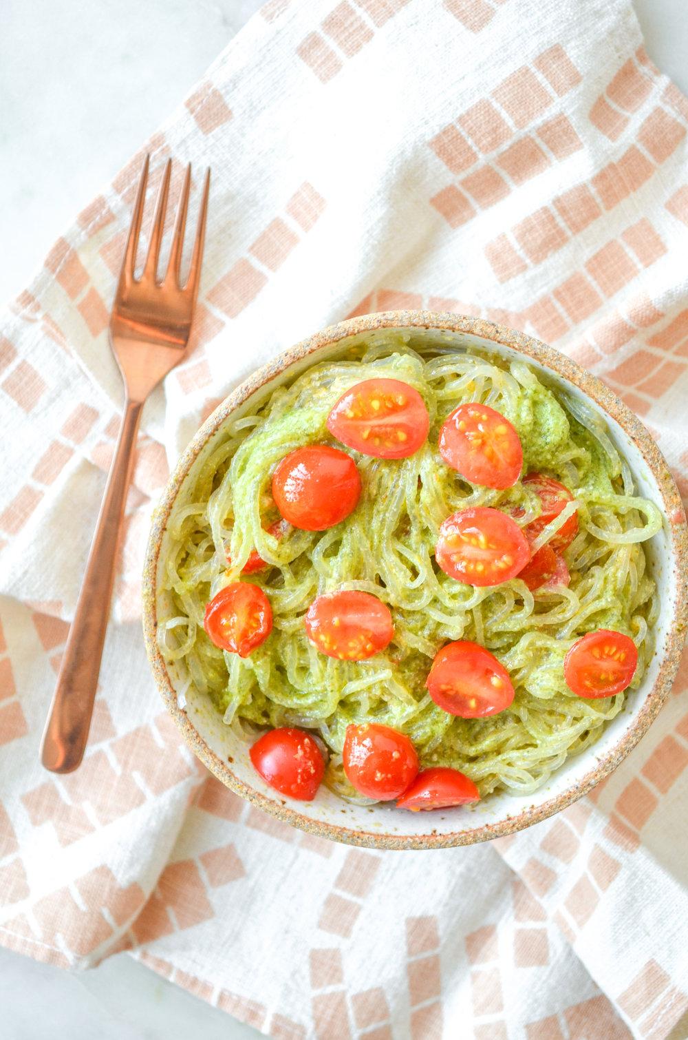 paleo pesto kelp noodles // #ShiraRD #paleo #refinedsugarfree #SnacksbyShira