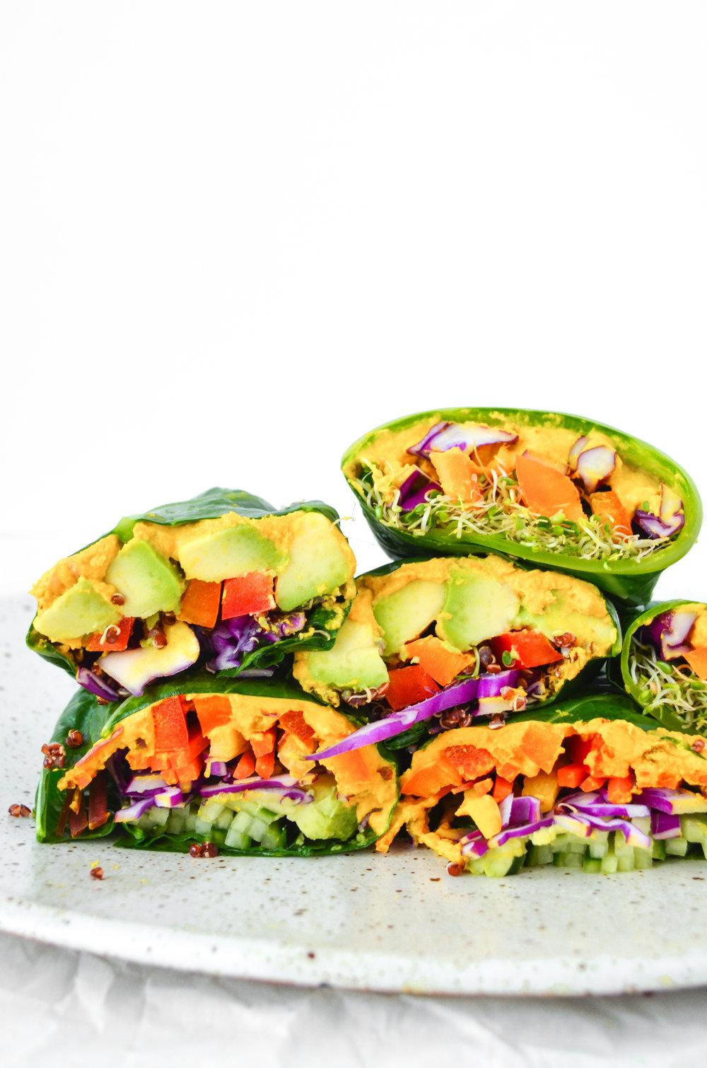 paleo collard wraps with turmeric tahini hummus // #ShiraRD #paleo #refinedsugarfree #SnacksbyShira