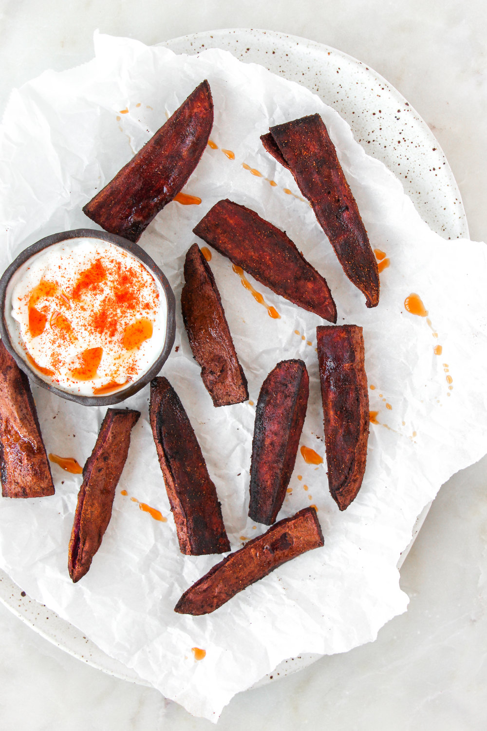 paleo purple sweet potato fries // #ShiraRD #paleo #refinedsugarfree #SnacksbyShira